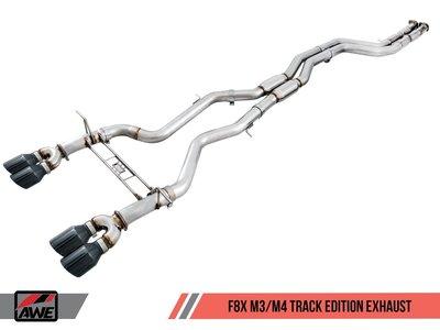 =1號倉庫= AWE Tuning 中尾段 非直通 排氣管 90mm 鑽石黑尾飾 BMW F8X M3 M4