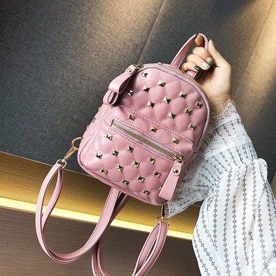 手拿包 錢夾 手提包 側背包 後背包 韓版時尚雙肩包女夏季潮鉚釘手提包氣質 百搭女學生書包