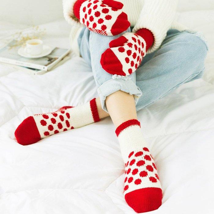 聚吉小屋 #蘇蘇姐家波點手套襪子套裝 手工diy毛線材料包嬰兒棉線編織瓇