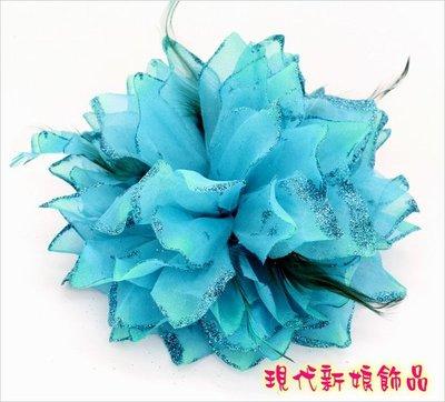 新娘秘書 結婚用品 文定 新娘披肩 披肩 婚紗禮服 ~C~438~孔雀藍色th003頭花