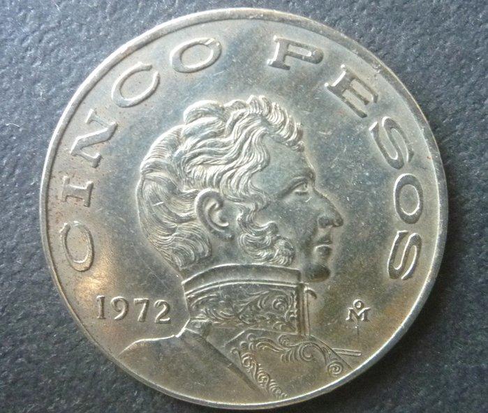 [小章寶店]   賠售出清~~1元起標 /運費不合併/  172大型墨西哥1972年(5披索).(美品.保真).