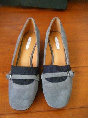 全新 GEOX  灰色几皮厚底鞋 / 包鞋  / 娃娃鞋 【 size:36.5 】