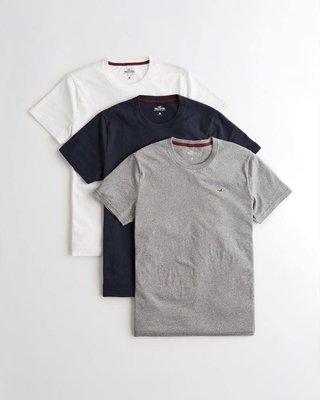 美國百分百【Hollister Co.】T-shirt 短袖 白灰藍 三件一組 海鷗素T 圓領 XS~XL A103