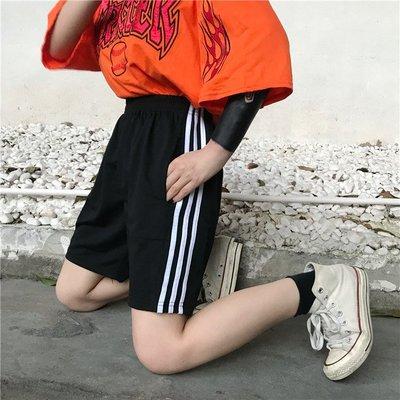 2018夏季韓國原宿bf三杠寬松百搭情侶裝學生短褲 五分褲男女潮