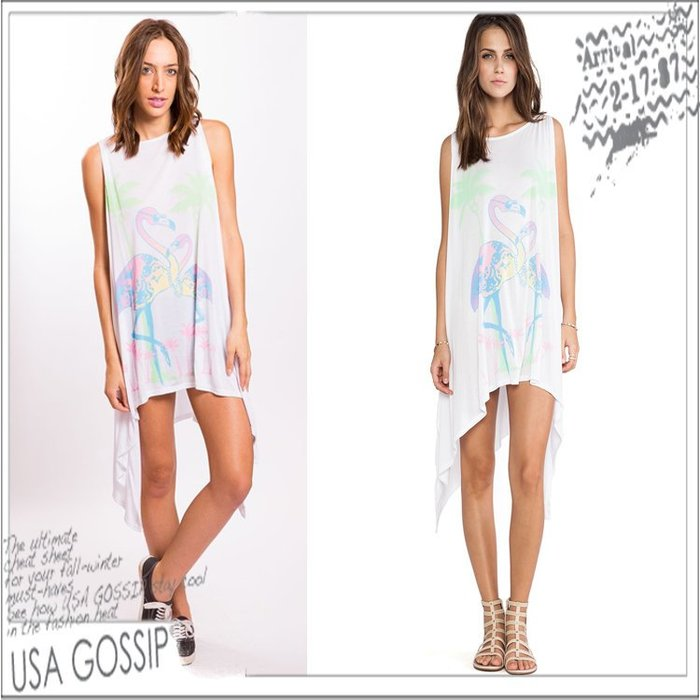 ㊣ 美國八卦小報 ㊣ Lauren Moshi 白色彩色紅鶴無袖洋裝 現貨