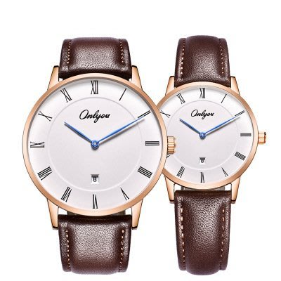 窩美(簡約時尚)여가休閒防水學生情侶커플對錶真皮錶帶石英錶