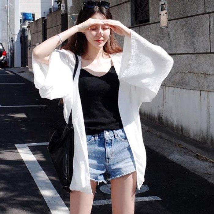 開襟女夏薄中長款海邊度假雪紡衫上衣外套