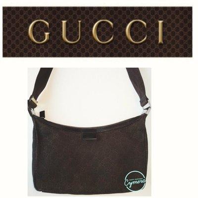 GUCCI 2用包 織紋布 皮革 郵差包 肩背 側背 斜背包 彎月型 拉鍊 男女可 名牌精品包549 1元起標