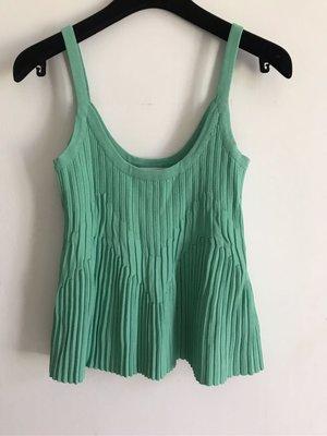 韓國設計師 極美薄荷綠針織細肩帶上衣 質感極佳