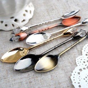 【愛麗絲生活家飾雜貨】zakka歐式宮廷復古手杖甜品勺 /小湯勺 /咖啡勺(2款)