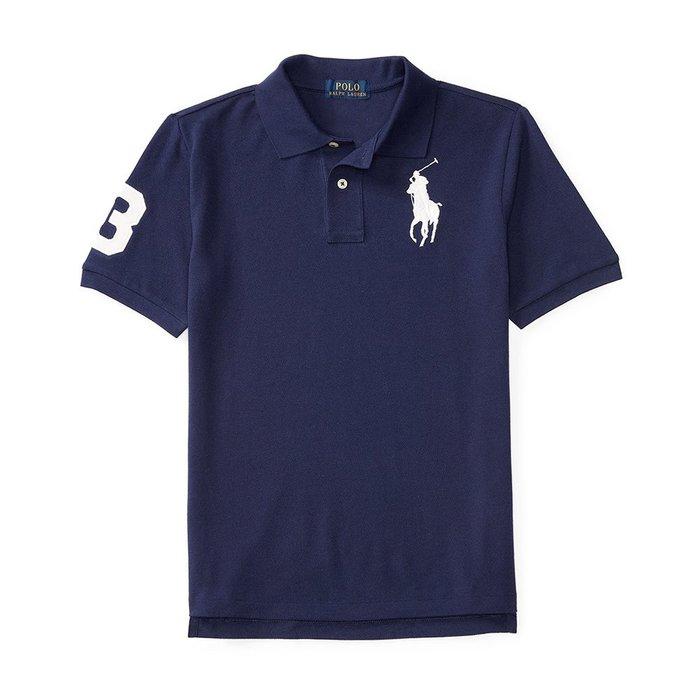 美國百分百【Ralph Lauren】Polo 衫 RL 短袖 網眼 上衣 白色大馬 男款 XS S號 深藍 B003