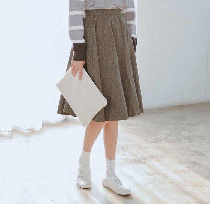 SeyeS  古著韓系時尚復古百搭學院風灰色寬擺壓摺裙