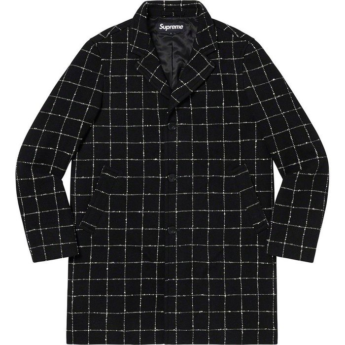 【紐約范特西】預購 Supreme FW19 Wool Windowpane Overcoat 羊毛大衣