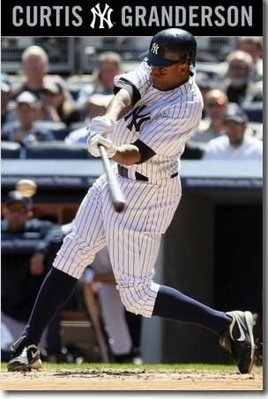 MLB台灣賽紐約洋基Curtis Granderson原版海報60乘90公分