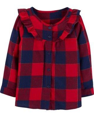 [美國購回] OshKosh B'gosh Checkered Ruffle Tunic 荷葉邊紅藍格紋上衣 6-9M