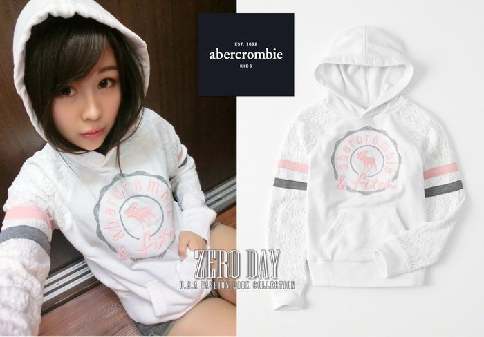 a&f abercrombie&fitch真品girl lace-sleeve graphic hoodie麋鹿連帽T白
