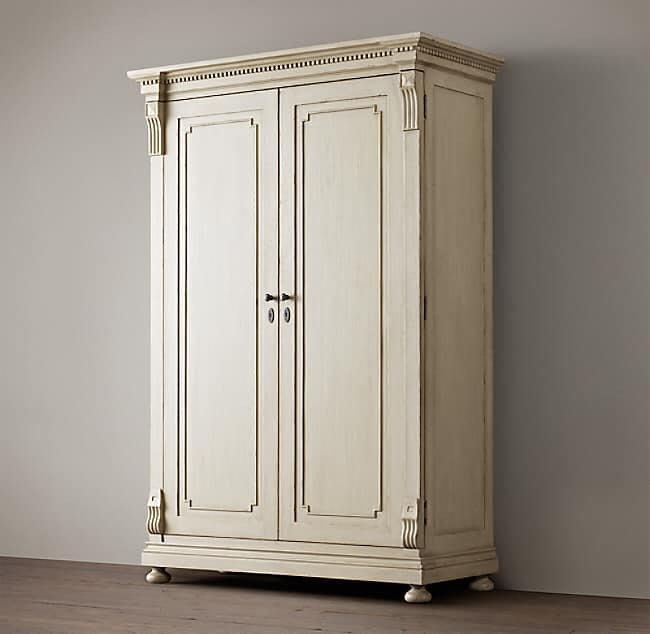 美國進口 正品RH 奶白色大型衣櫃 白橡實木