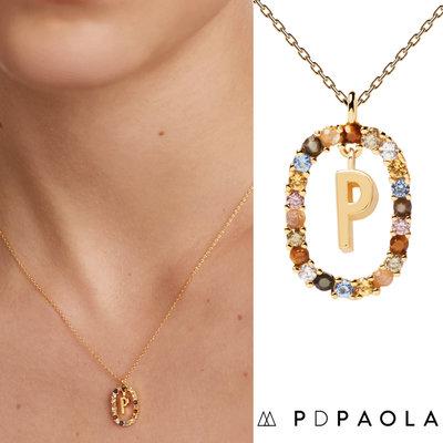 PD PAOLA 西班牙時尚潮牌 金色P字母項鍊 彩寶橢圓形項鍊 925純銀鑲18K金