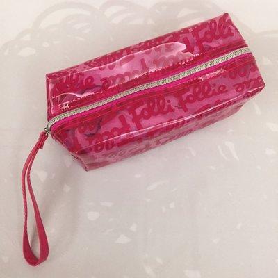 *限時降價免運*Folli Follie 全新正品 透明防水logo化妝包 可手提 桃紅色 現貨