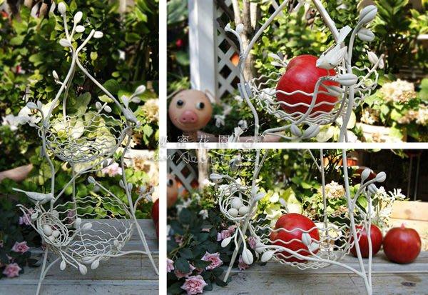 雙層鳥籠水果籃--日本田園風刷白鐵製鳥兒鳥巢雙層架/水果盤架/置物架--秘密花園館