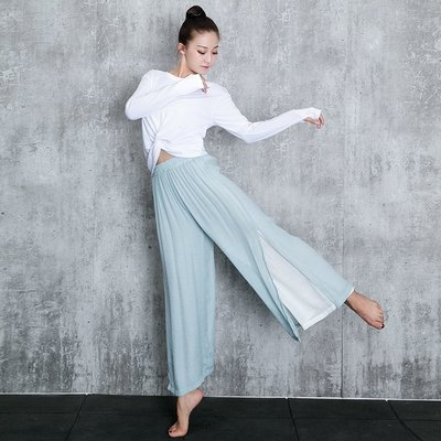 新款舞蹈服女成人兩面穿長袖拇指扣上衣現代舞古典爵士舞練功服裝
