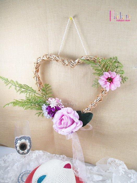 ☆[Hankaro]☆ 浪漫創意小清新仿真心型花環掛飾