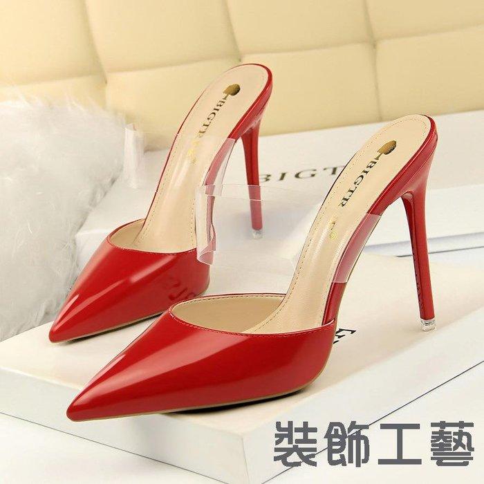 86-8韓版時尚簡約顯瘦細跟高跟漆皮包頭淺口透明一字帶尖頭涼拖鞋