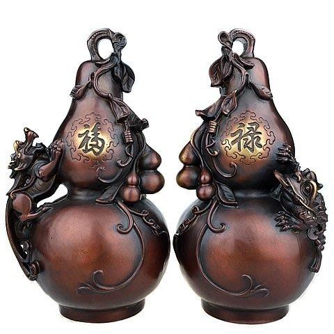 【凡了居】貔貅金蟾葫蘆一對 華鑫銅230