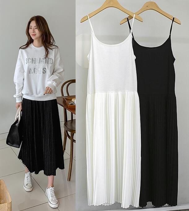 Bellee 正韓 包色款 挺版百摺厚雪紡背心裙 (2色) 上面是彈性很好的棉質【F21779】 預購  CC