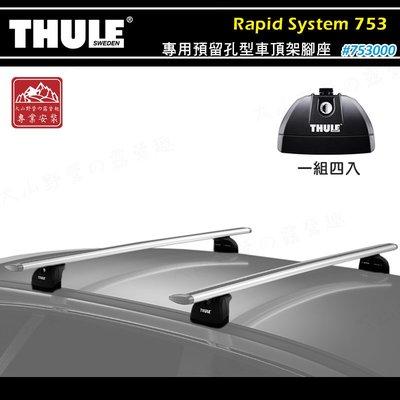 【大山野營】新店桃園 THULE 都樂 753 Rapid System 專用預留孔型車頂架腳座 基座 行李架 置物架