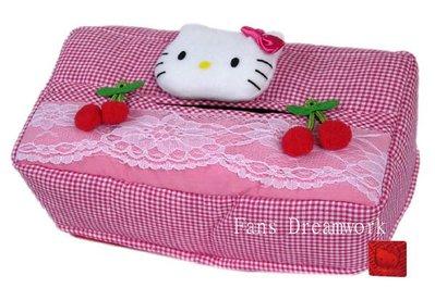 【卡漫迷】Hello Kitty 面紙套 ㊣版 櫻桃小臉 絨毛 面紙盒 約24 x 12 x 6cm ~ 2 9 0元