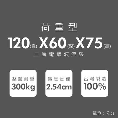 鐵架【荷重型 120x60x75cm 電鍍三層架】整體耐重300kg【架式館】波浪架/鐵力士架/層架/組合架/鐵架衣櫥