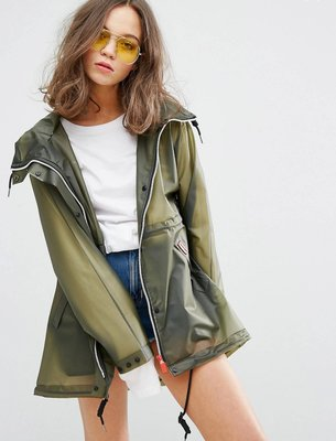 Hunter Raincoat橄欖色款 百搭 連帽防水/防風夾克/雨衣