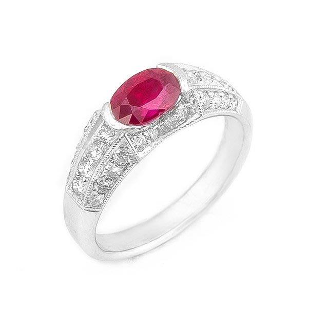 【JHT 金宏總珠寶/GIA鑽石專賣】1.09ct天然紅寶鑽戒/材質:14k(R00015)