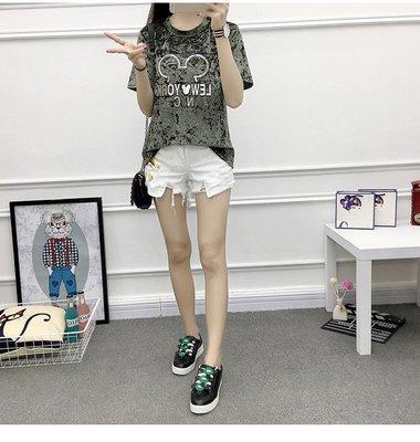 =EZZ=韓國首爾 時尚精品 東大門同步 早班車7177 金絲絨米奇大碼寬鬆短袖T恤
