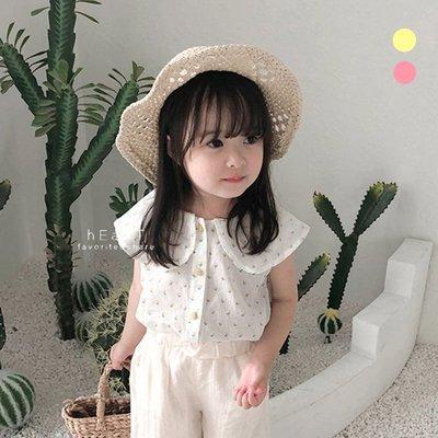 【可愛村】日系寬娃娃領小櫻桃無袖上衣 童裝 無袖上衣 襯衫 上衣