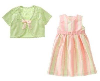 (((出清特價))) 美國 JANIE AND JACK 粉紅直紋絲緞禮服+淺綠針織小外套 (8yrs)