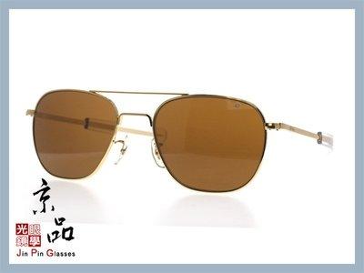 【美國AO】飛官太陽眼鏡 OP 57mm G.BA.COS 金 透明色框 茶色玻璃鏡片 公司貨 JPG 京品眼鏡