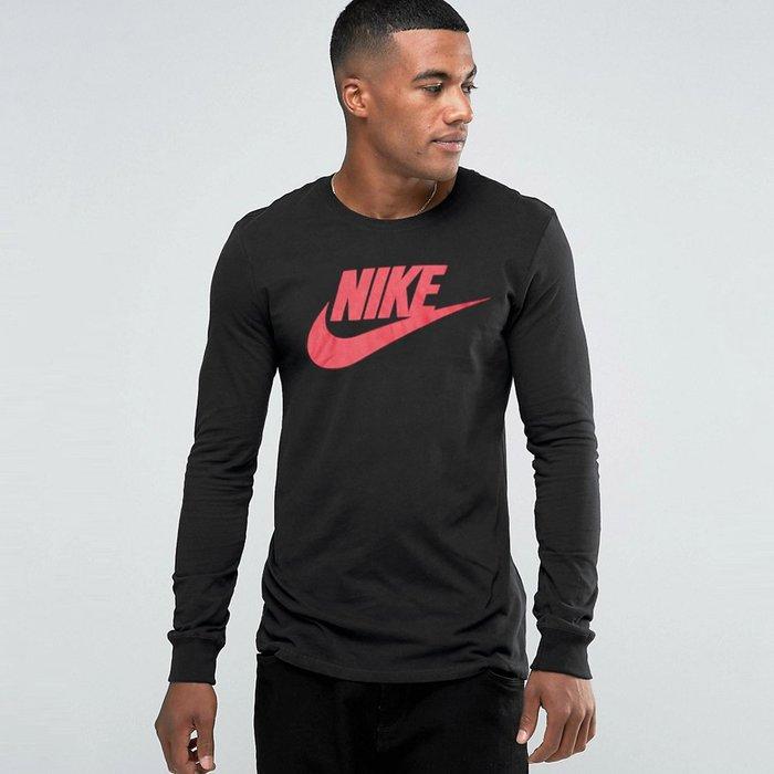 美國百分百【全新真品】Nike T恤 耐吉 長袖 T-shirt 長T 潮流 運動時尚 黑色 男 S號 H613