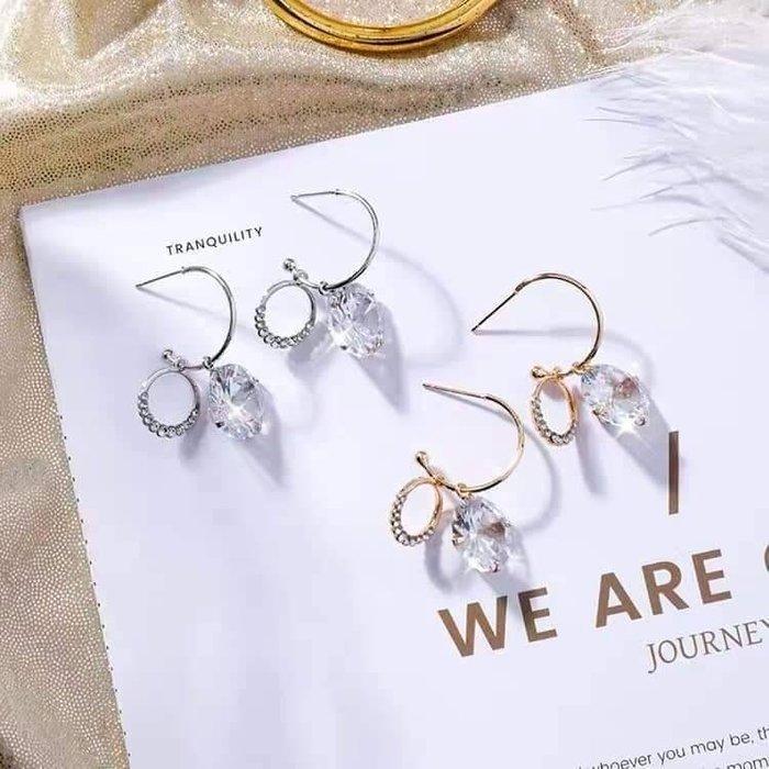 現貨在台 韓國設計 C圈水鑽圓環珍珠銀針耳環 氣質百搭 ins爆款 網美網紅最愛