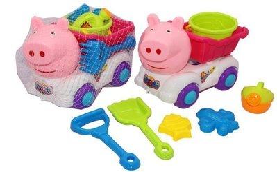 夏日兒童沙灘玩具~大豬頭沙灘車~小豬 玩沙工具 ~海邊 玩水必備 挖沙組玩具~◎童心玩具1館