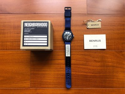 BENRUS x Neighborhood 聯名 BR763 海軍藍 藍色 尼龍材質 軍事風格 手錶 瑞士製