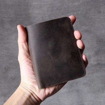 短夾真皮錢包-深咖啡瘋馬牛皮簡約男女皮夾73vp27[獨家進口][米蘭精品]