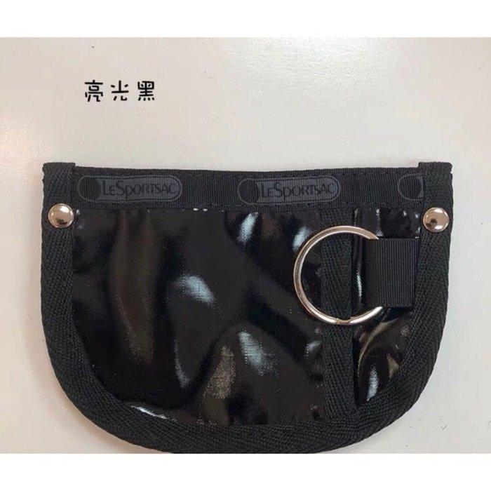 ♥ 小花日韓雜貨 ♥ -- Lesportsac 7317 防水包卡包零錢包亮面黑鑰匙包