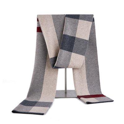 圍巾 羊毛 披肩-保暖加厚格紋針織男配件4色73wh1[獨家進口][米蘭精品]