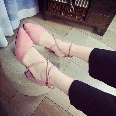 2018高跟鞋粉色尖頭新款夏季中跟粗跟百搭綁帶學生羅馬時尚單鞋