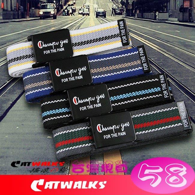 台灣現貨  * Catwalk's 搖滾の貓 * 歐美風時尚條紋款金屬扣頭帆布腰帶 ( 白色、黑色、藍色、灰色 )