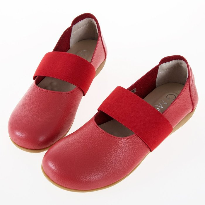 Selly outlet MIT系列-牛皮鬆緊帶圓頭平底休閒鞋(MIT207)紅色36號 NG292