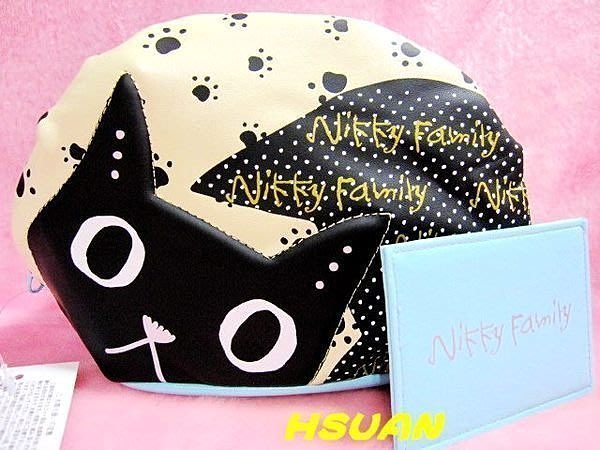 ☆HSUAN HOUSE☆出清 法國知名插畫 nikky falmily 黑白貓立體化妝包 收納包 萬用包(藍款)