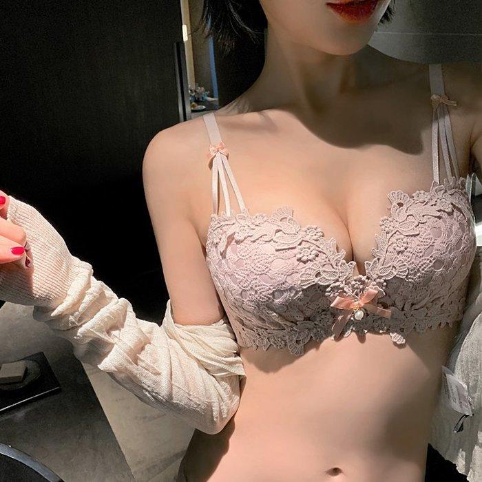 內衣 日式 性感 送內褲】蕾絲少女甜美內衣小胸上托聚攏調整文胸罩夏季學生無鋼圈